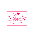 love with hearts in continuous drawing lines in a vector image vector image