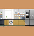 modern kitchen interior with refrigerator vector image vector image