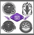 motorcycle set with vintage custom logos vector image