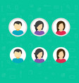 my account icons set flat design avatar vector image vector image