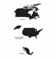 north america countries silhouettes vector image vector image