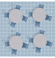 Overhead view of a cafe table with chairs vector image vector image