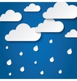 Paper white clouds on blue Paper raindrops vector image