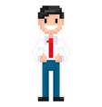 person made pixels 8bit game character vector image