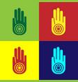 pop art symbol jainism or jain dharma icon vector image vector image