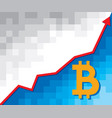 positive business graph with arrow and bitcoin vector image vector image