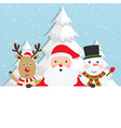 santa claus with reindeer and a snowman vector image vector image