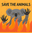 save animals from fire poster vector image vector image