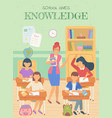school gives knowledge lesson teacher and pupils vector image vector image