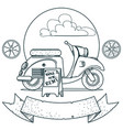 scooter outline drawings for coloring vector image vector image