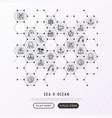 sea and ocean journey concept in honeycombs vector image vector image
