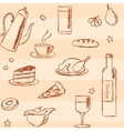 Seamless pattern with doodle food and drinks vector image vector image