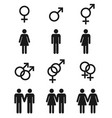 set gender symbols - male female and vector image vector image