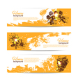 Set of honey banners with hand drawn sketch vector image vector image