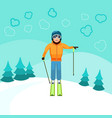 skier standing on top of a mountain vector image
