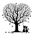 two cats under a tree vector image vector image