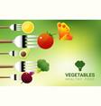 vegetables on forks vector image vector image