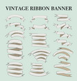 vintage ribbon banner elements set vector image