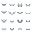 wing logo icons set simple style vector image vector image