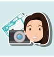 woman camera tickets travel vector image vector image