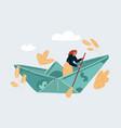 woman sailing on dollar vector image vector image
