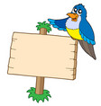 wooden sign with blue bird vector image vector image
