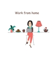 Working from home office flat concept vector image vector image