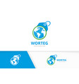 world and tag logo combination earth and vector image