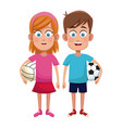 couple children sport soccer and volleyball vector image