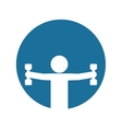 silhouette fitness man weight dumbbell blue vector image