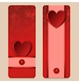 A set of two horizontal red banner with hearts vector image