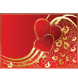 abstract red card with hearts vector image vector image