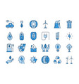 blue outline eco icons vector image
