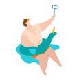 body positive fat man in swimsuits in sea makes vector image vector image