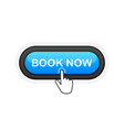 book now blue realistic 3d button isolated