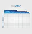 business weekly schedule calendar template vector image vector image