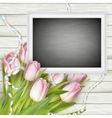 Chalk board on wooden background EPS 10 vector image vector image