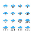 cloud technology icon set in glyph design vector image