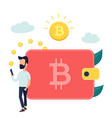 concept design of relocating bitcoins into wallet vector image vector image