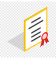 diploma or certificate isometric icon vector image vector image