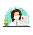 doctor in medical face mask or physician woman vector image