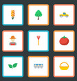 flat icons vegetable grain timber and other vector image vector image