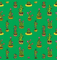 floral seamless pattern with cactuses vector image