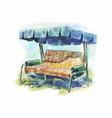 garden swing for summer rest vintage watercolor vector image vector image