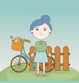 girl flowers in basket bicycle cartoon vector image