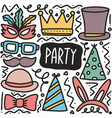 hand drawn doodle party vector image