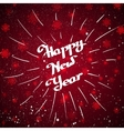 Hand-written Happy New Year with beam over red vector image vector image