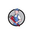 Handyman Holding Pipe Wrench Circle Cartoon vector image vector image
