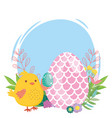 happy easter chicken and egg decorated with shape vector image