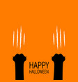 happy halloween two black cat scratching paw leg vector image vector image